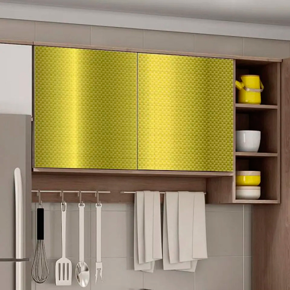 Adesivo para móveis Metallic Fibra 4D Ouro 0,53m  - TaColado