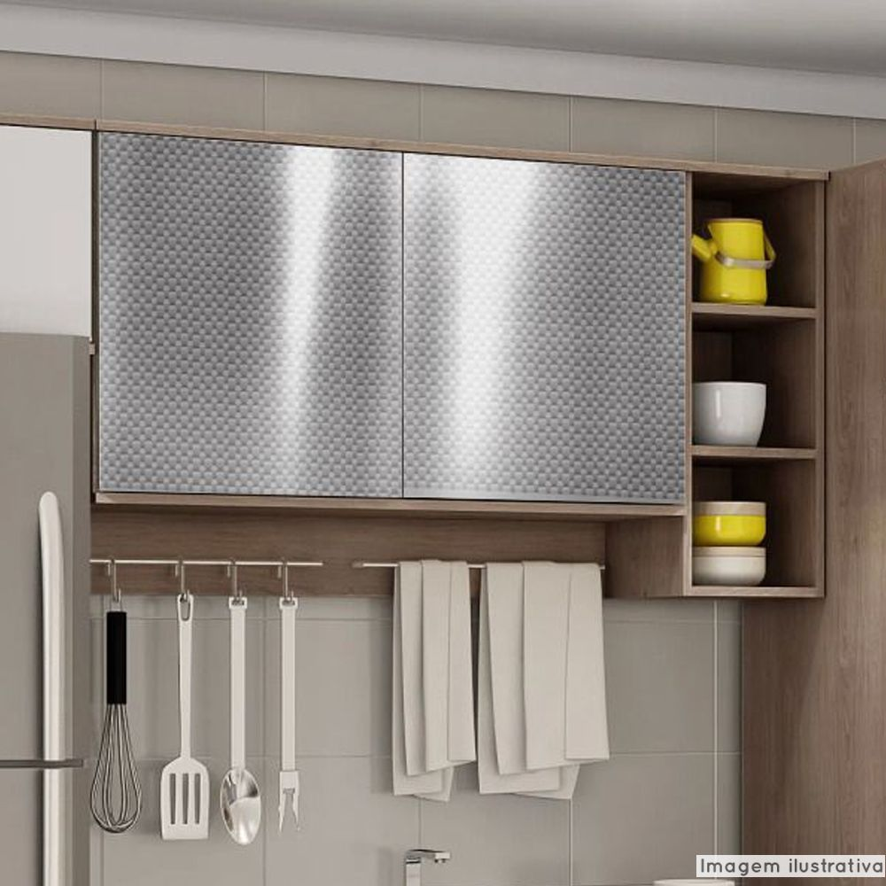 Adesivo para Móveis Metallic Fibra 4D Prata 1,06m  - TaColado