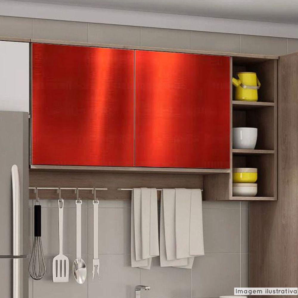 Adesivo para Móveis Metallic Liso Vermelho 0,53m  - TaColado