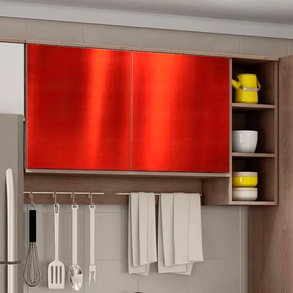 Adesivo para Móveis Metallic Liso Vermelho 1,06m  - TaColado