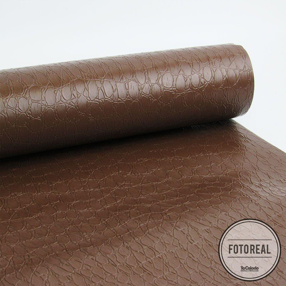 Adesivo para móveis texturizado Croco Marrom 0,61m  - TaColado