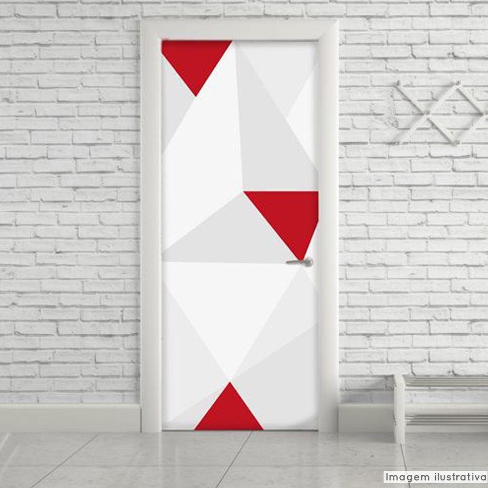 Adesivo para Porta Geométrico Vermelho  - TaColado