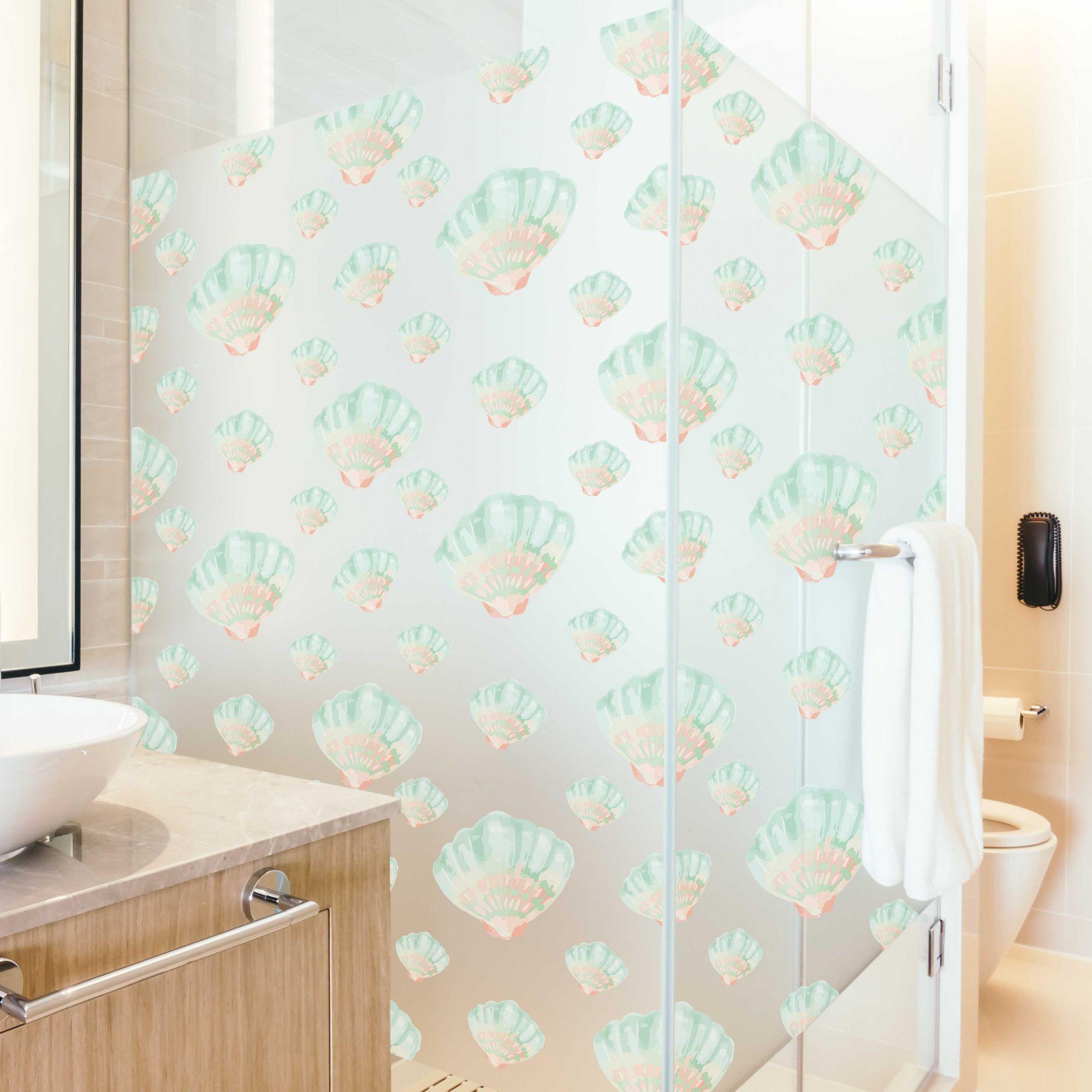 Queima de Estoque - Adesivo Para Vidro Box Banheiro Jateado Decorado Conchas Prova D
