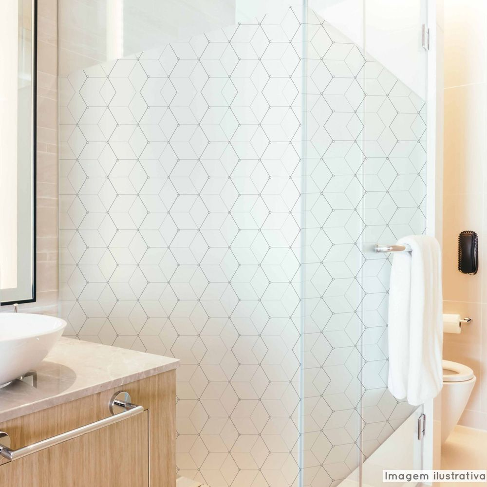Adesivo Para Vidro Box Banheiro Jateado Decorado Cubos prova D