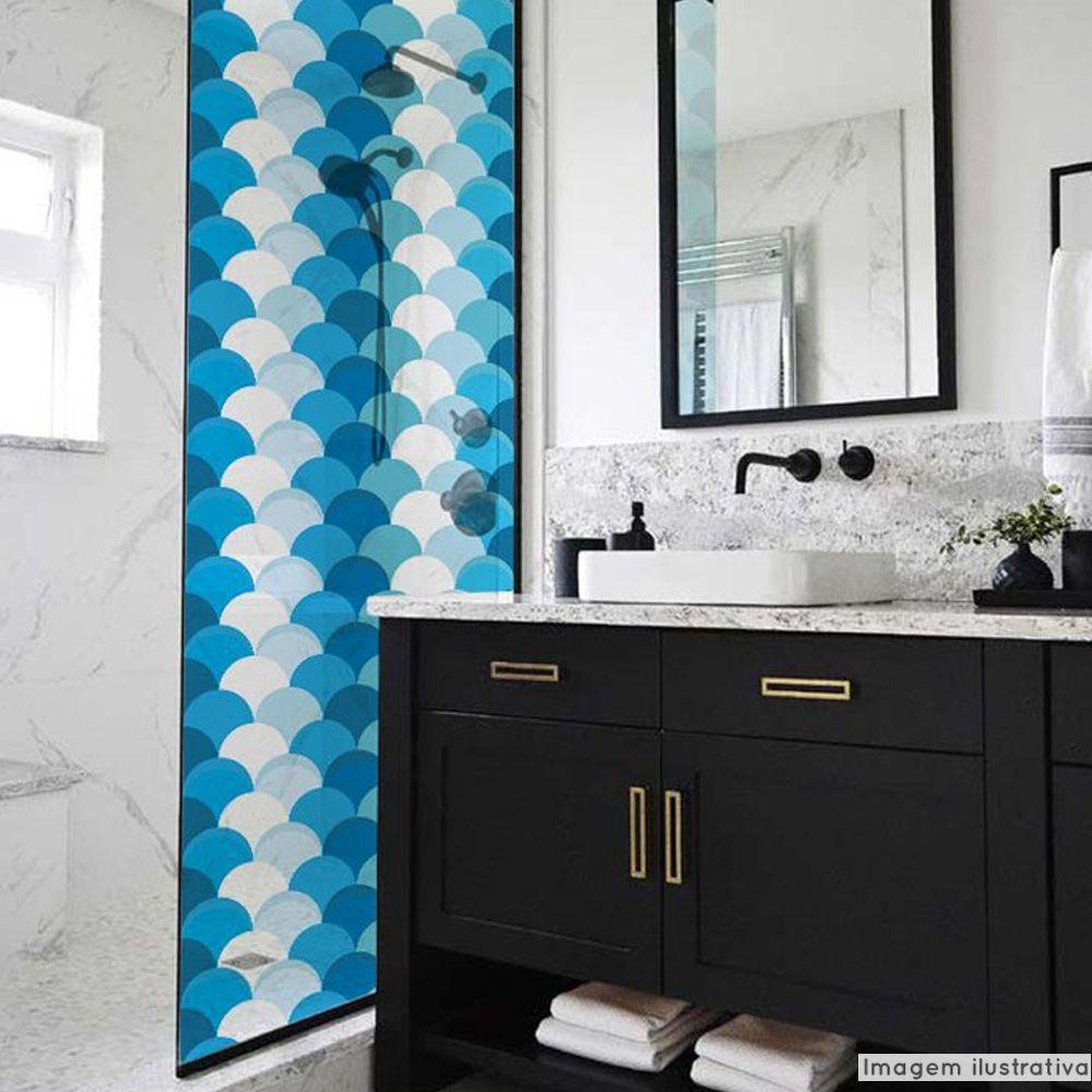 Adesivo Para Vidro Box Banheiro Jateado Decorado Escama Prova D