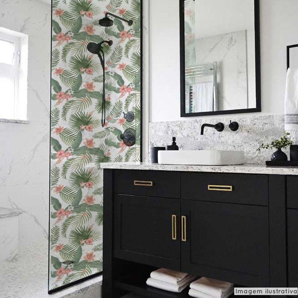 Adesivo Para Vidro Box Banheiro Jateado Decorado Folhagem Prova D