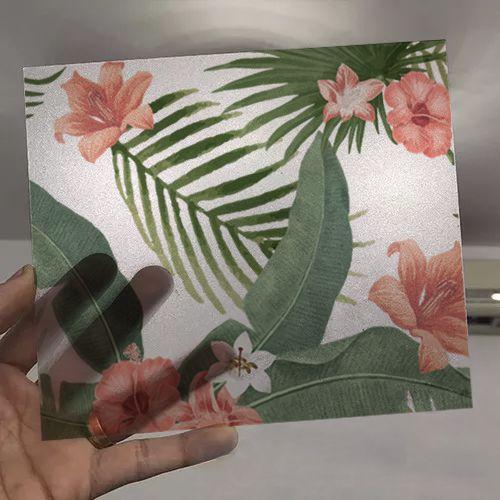 Queima de Estoque - Adesivo Para Vidro Box Banheiro Jateado Decorado Folhagem Prova D