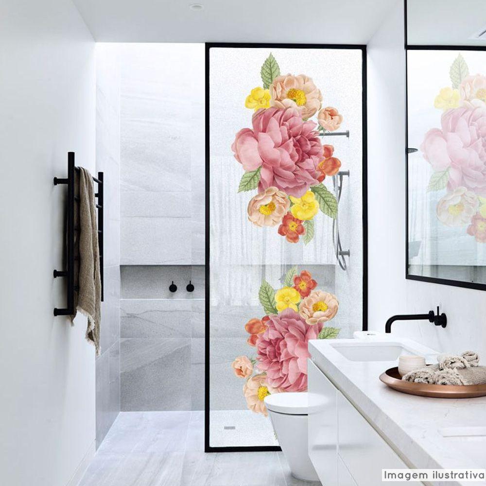 Adesivo Para Vidro Box Banheiro Jateado Decorado Rose Prova D