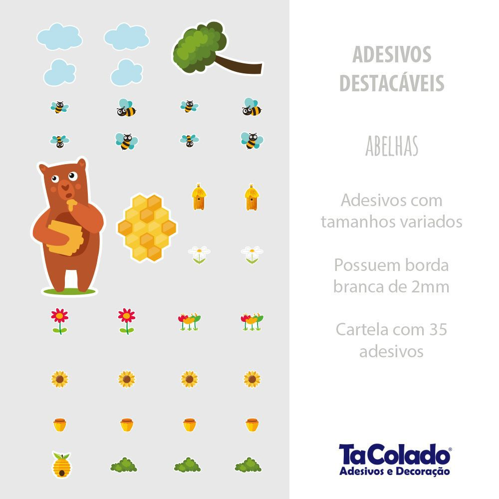 Promoção  - Adesivo Destacável Abelhas-  Kit com 2 unidades  - TaColado