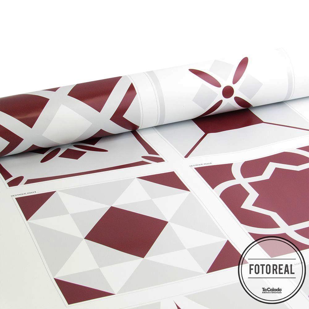 Promoção - Adesivo Destacável Azulejo para Cozinha Bragança Vinho 20x20cm  - TaColado