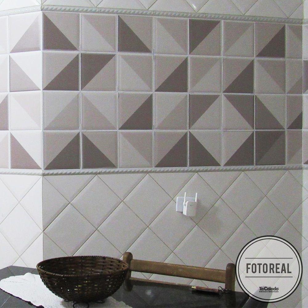 Promoção  - Adesivo Destacável Azulejo para Cozinha Retângulo Marrom 15x15cm  - TaColado