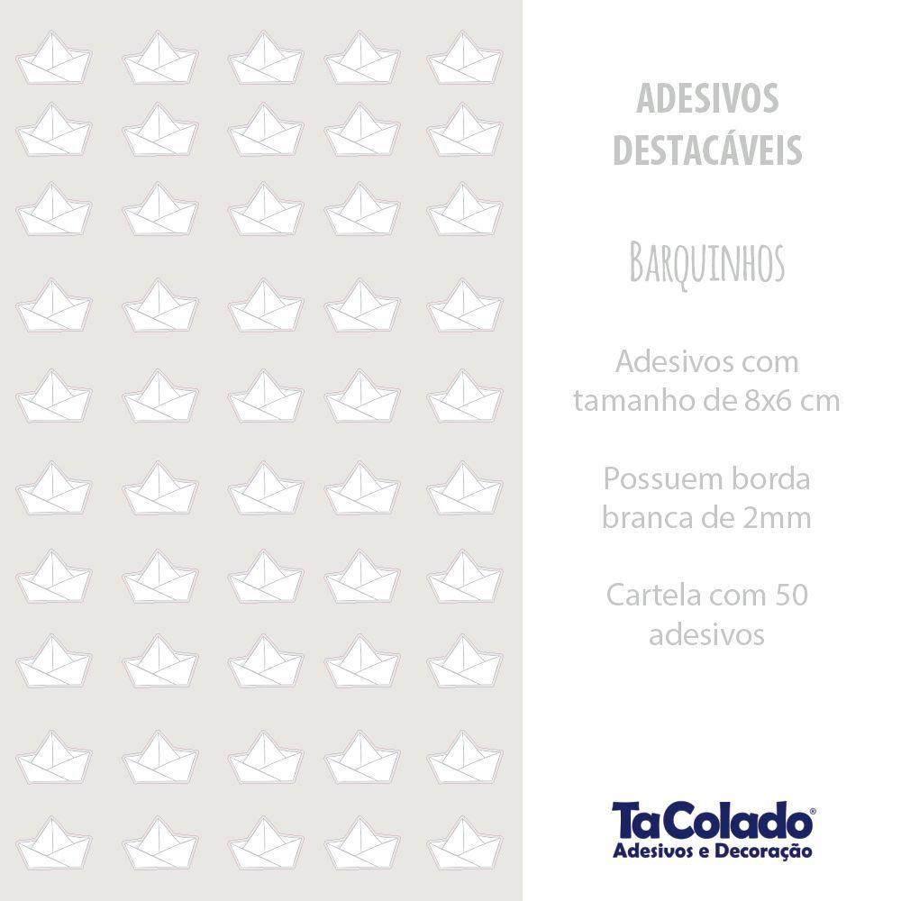 Promoção  - Adesivo Destacável Barquinhos de Papel Cinza  - TaColado