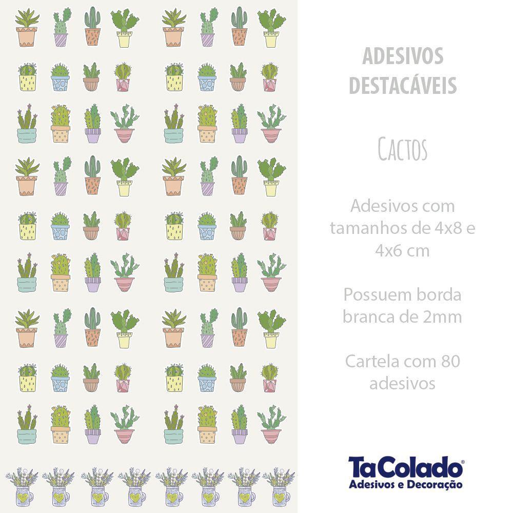 Promoção  - Adesivo Destacável Cactos Colorido  - TaColado