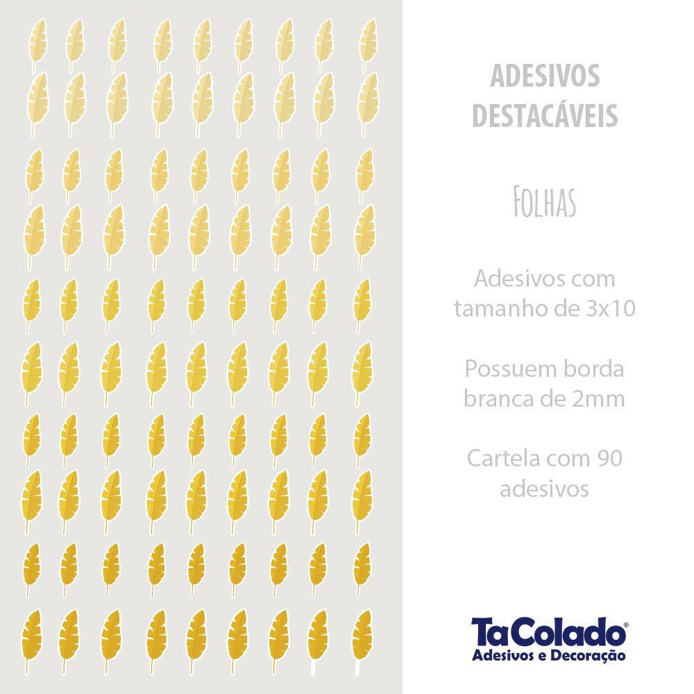 Black November- Adesivo Destacável Folhas Amarelo  - TaColado
