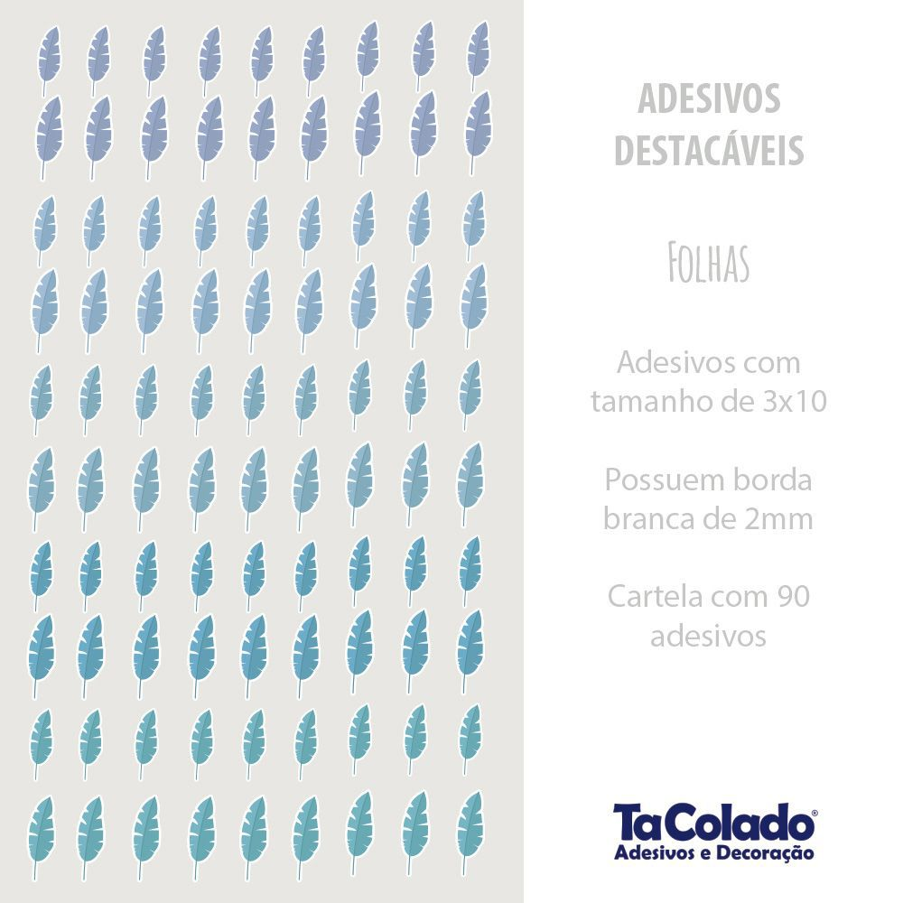 Black November- Adesivo Destacável Folhas Azul  - TaColado