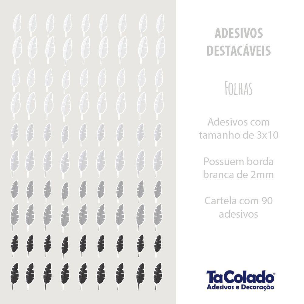 Promoção - Adesivo Destacável Folhas Cinza  - TaColado