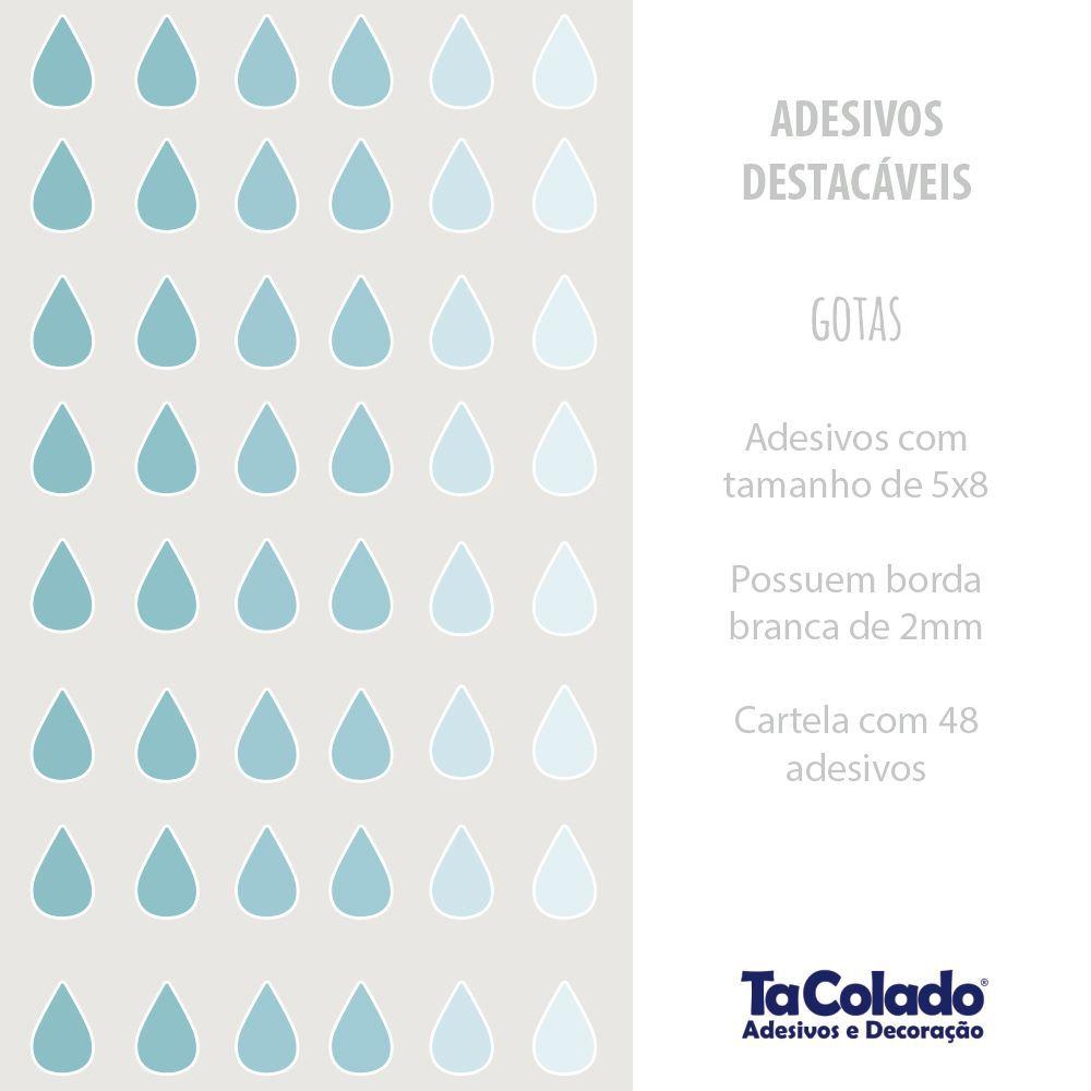 Black November - Adesivo Destacável Gotas Azul  - TaColado