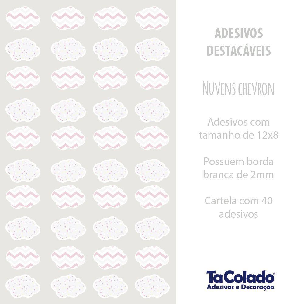 Promoção  - Adesivo Destacável Nuvens Chevron Rosa  - TaColado