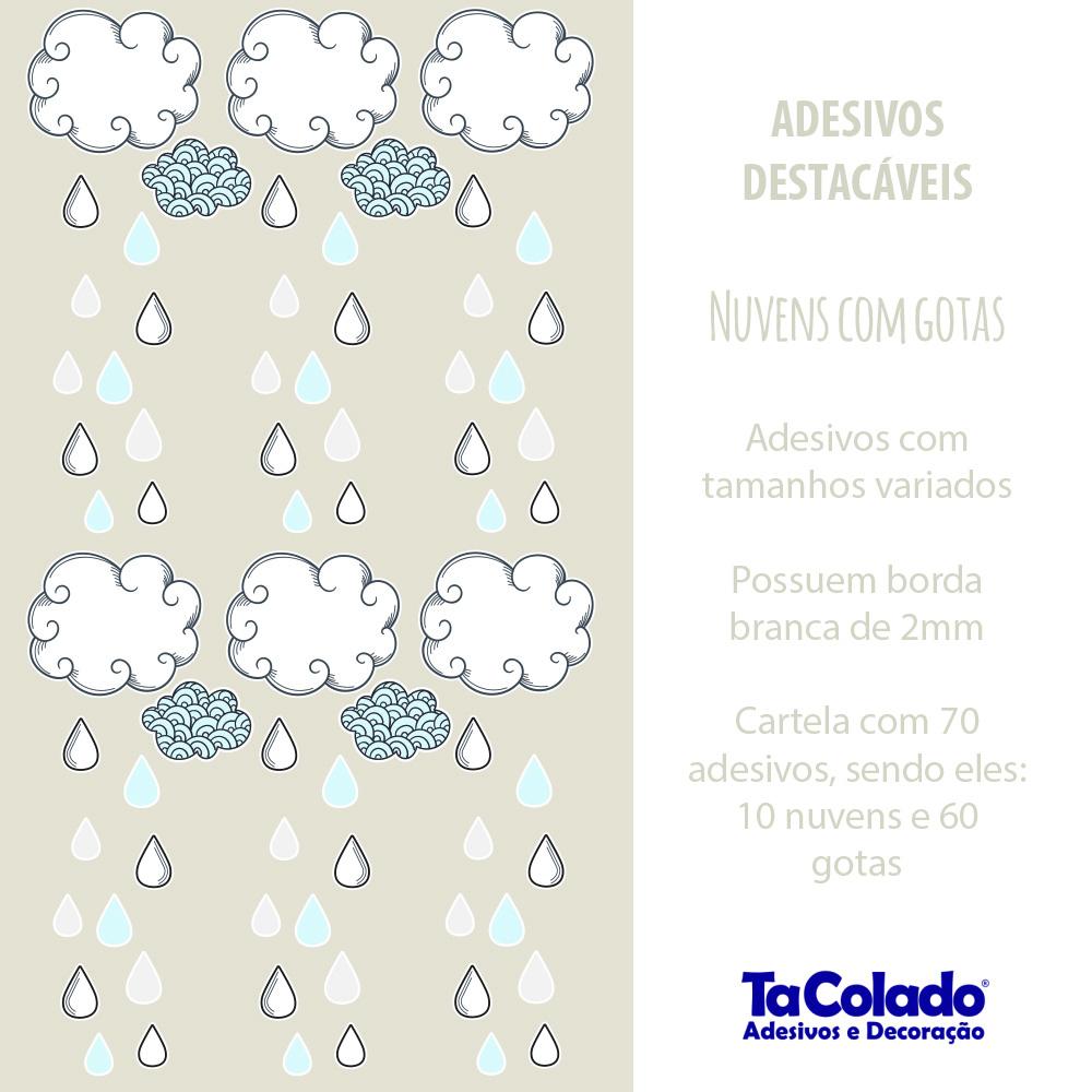 Promoção -  Adesivo Destacável Nuvens com Gotas Azul  - TaColado