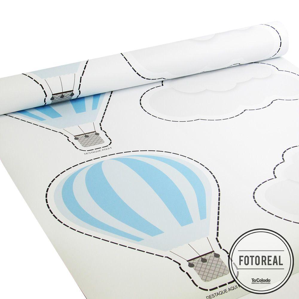 Promoção  - Adesivo Destacável Nuvens e Balões Azul  - TaColado
