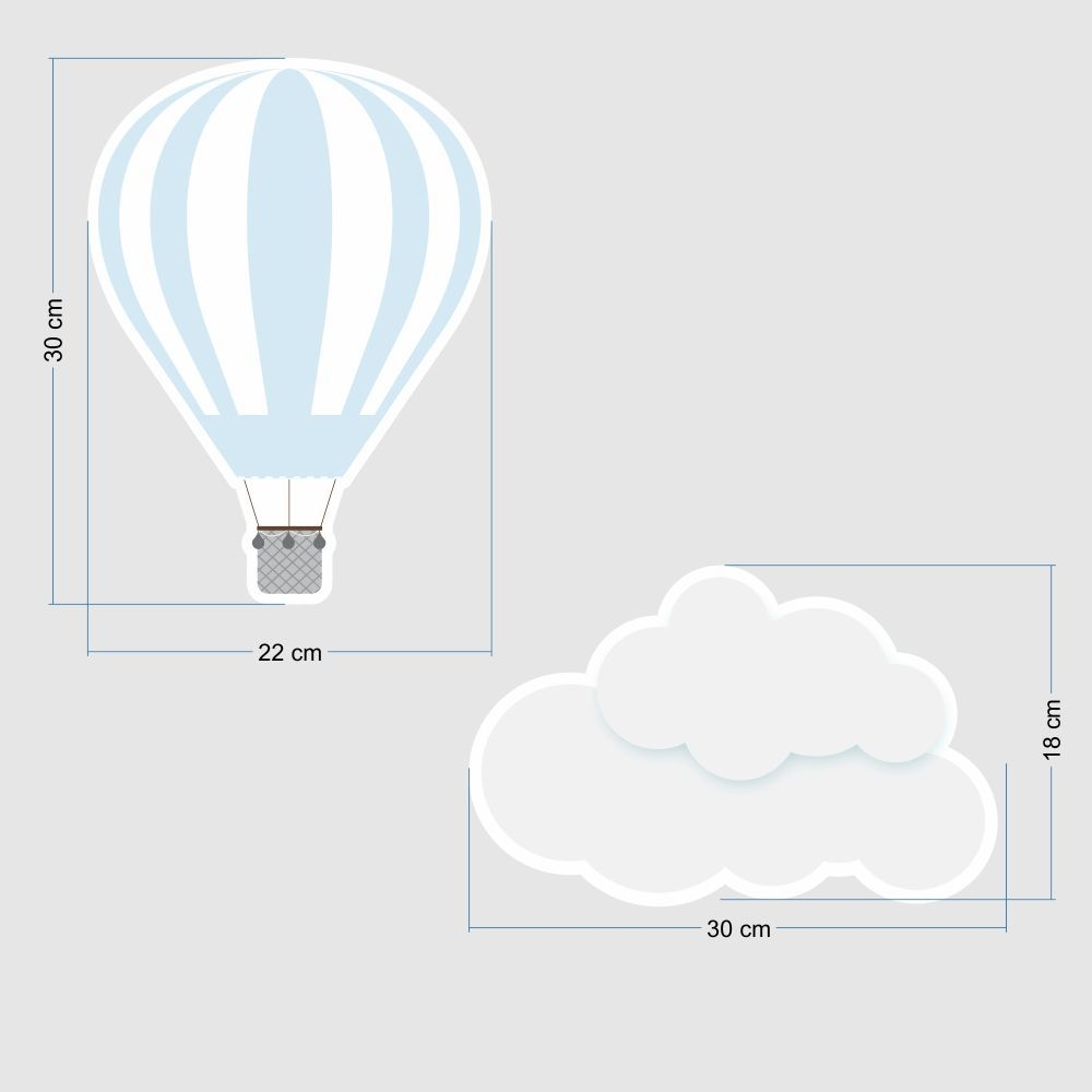 Promoção   - Adesivo Destacável Nuvens e Balões Azul e Branco  - TaColado