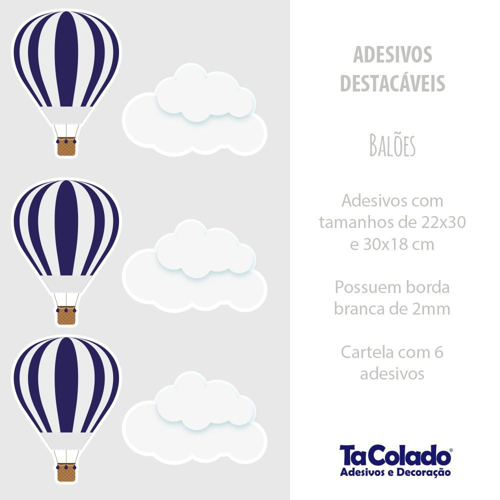 Promoção  - Adesivo Destacável Nuvens e Balões Azul Marinho  - TaColado