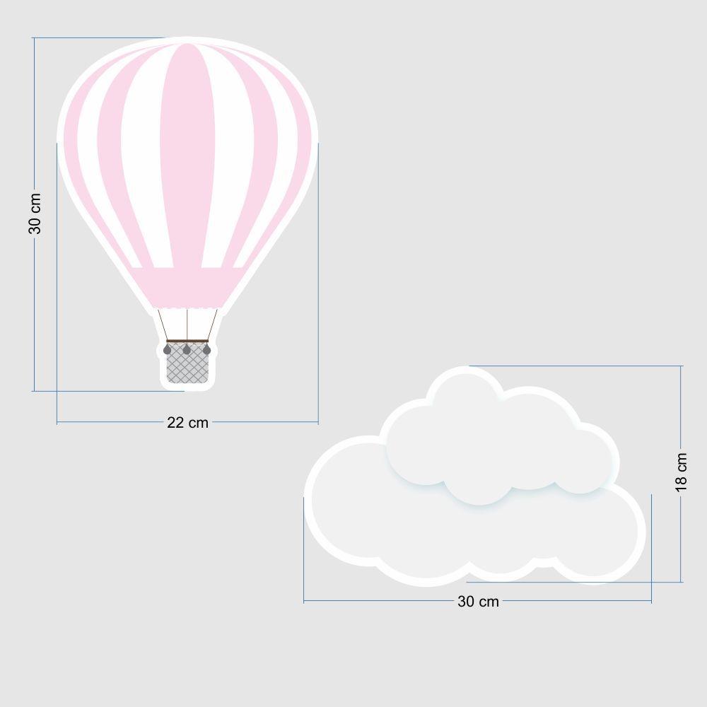 Promoção  - Adesivo Destacável Nuvens e Balões Rosa e Branco  - TaColado
