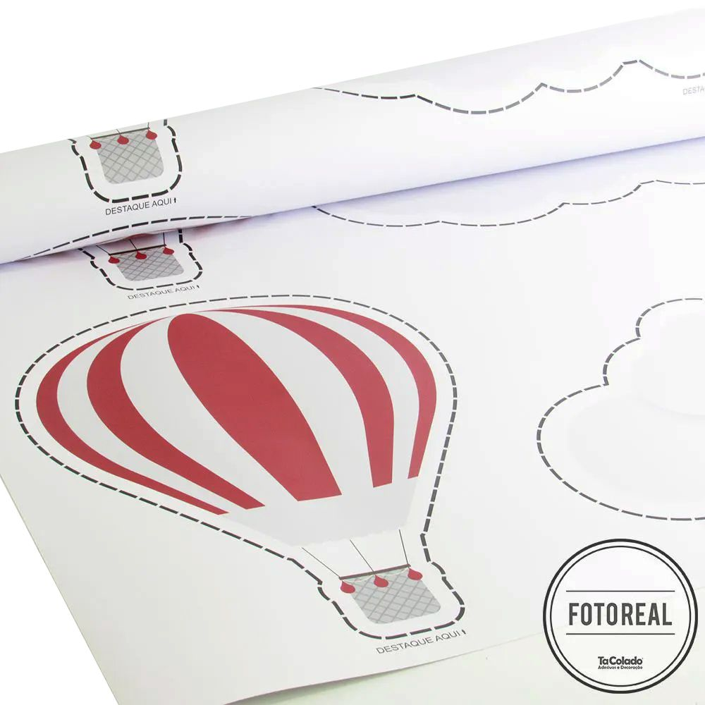 Promoção - Adesivo Destacável Nuvens e Balões Vermelho  - TaColado