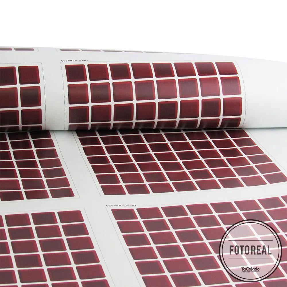 Promoção  - Adesivo Destacável Pastilha para Cozinha 3D Vermelho Escuro 20x20cm  - TaColado