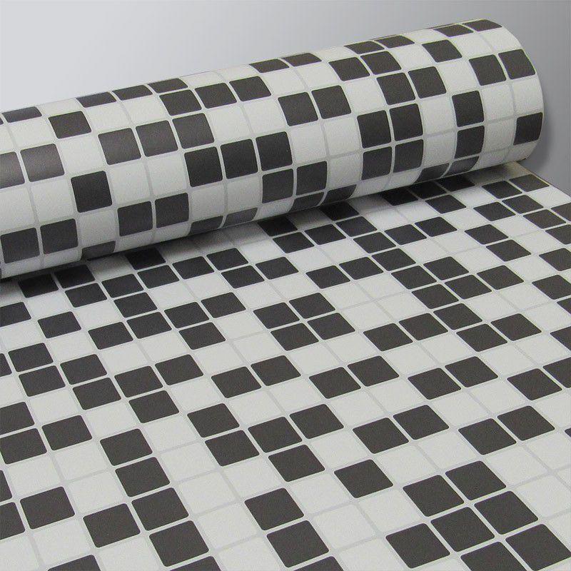 Black November - Adesivo Destacável Pastilha para Cozinha Clássica Mix Branco e Preto 15x15cm  - TaColado