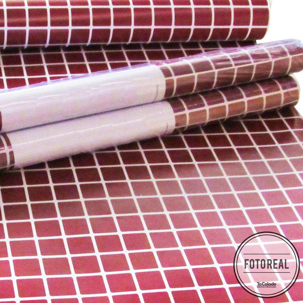 Promoção  - Adesivo Destacável Pastilha para Cozinha Clássica Vinho 15x15cm  - TaColado