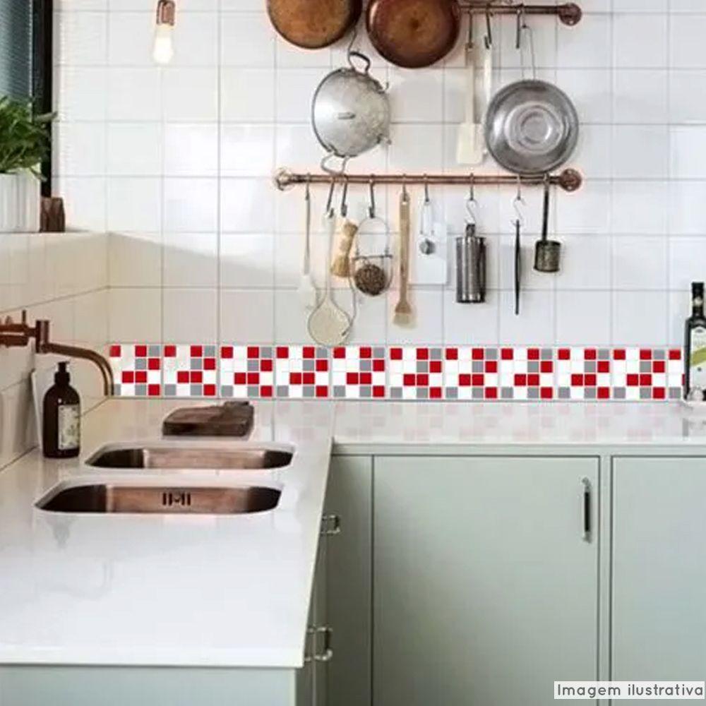 Promoção   - Adesivo Destacável Pastilha para Cozinha Mix Vermelho e Cinza 15x15cm  - TaColado