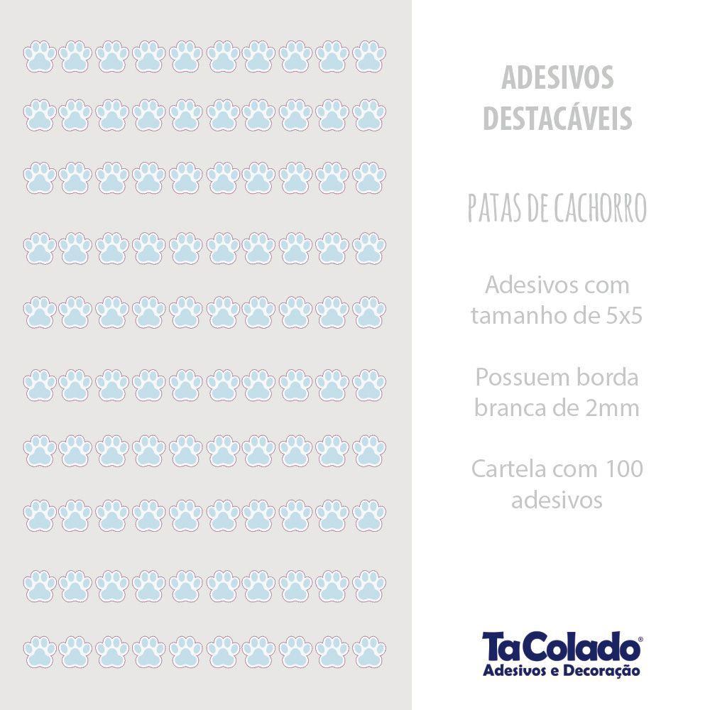Black November - Adesivo Destacável Patas de Cachorro Azul - Kit 2 unidades  - TaColado