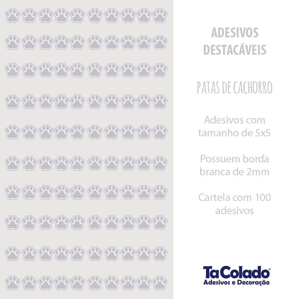 Promoção   - Adesivo Destacável Patas de Cachorro Cinza  - TaColado