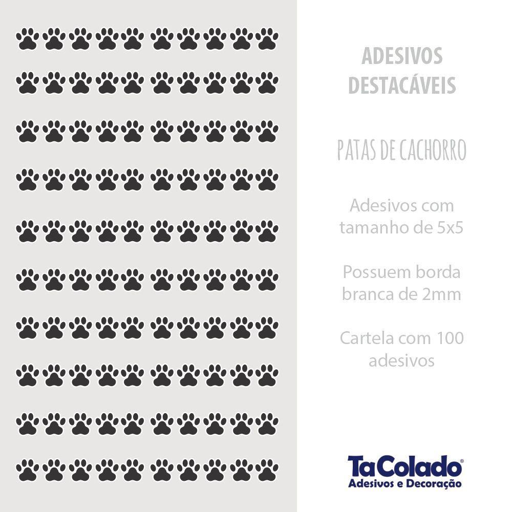 Promoção   - Adesivo Destacável Patas de Cachorro Preto - Kit 2 unidades  - TaColado