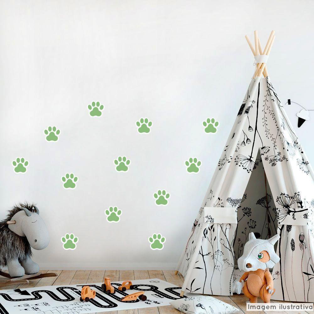Promoção   - Adesivo Destacável Patas de Cachorro Verde  - TaColado