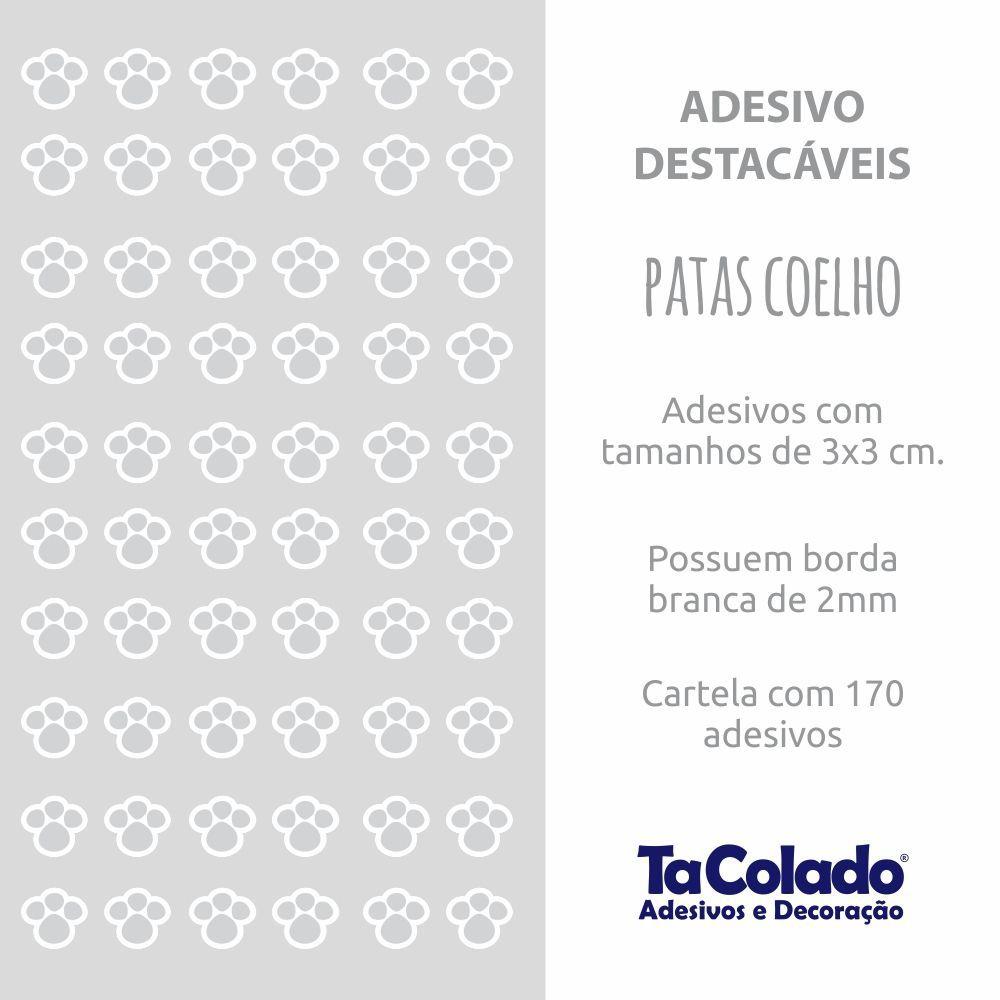 Promoção   - Adesivo Destacável Patas de Coelho Cinza  - TaColado