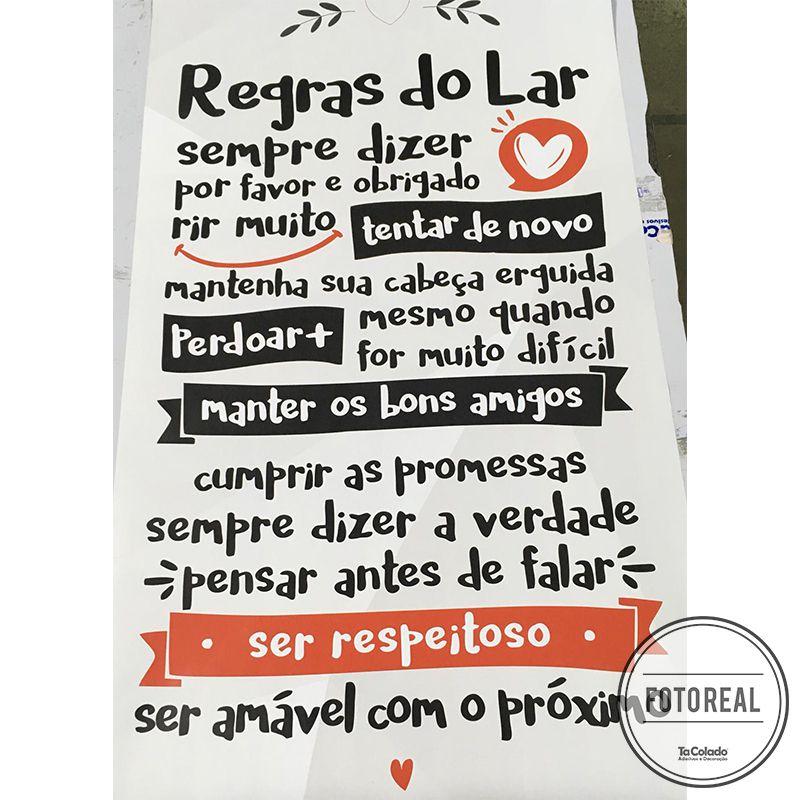 Black November - Adesivo Frase Regras do Lar  - TaColado