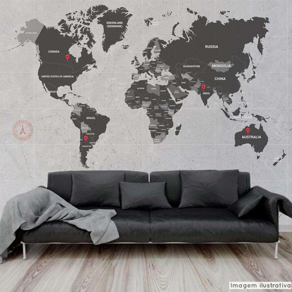 Promoção   - Mural Mapa Mundi 3,48x3,00m  - TaColado