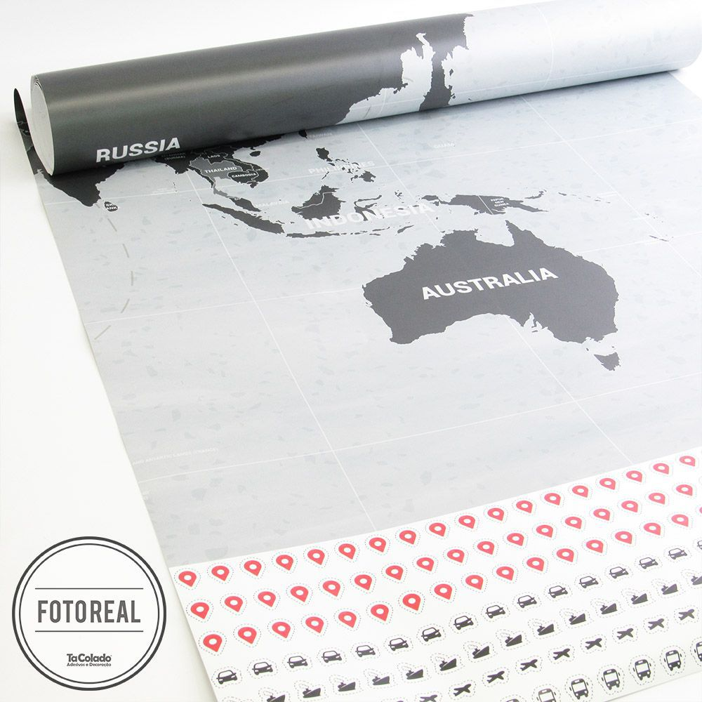 Black November - Painel Adesivo Mapa Mundi  - TaColado