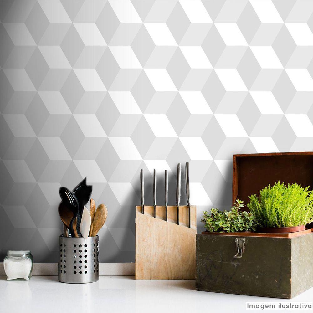 Promoção   - Papel de Parede 3D Cubo Classic Branco  - TaColado