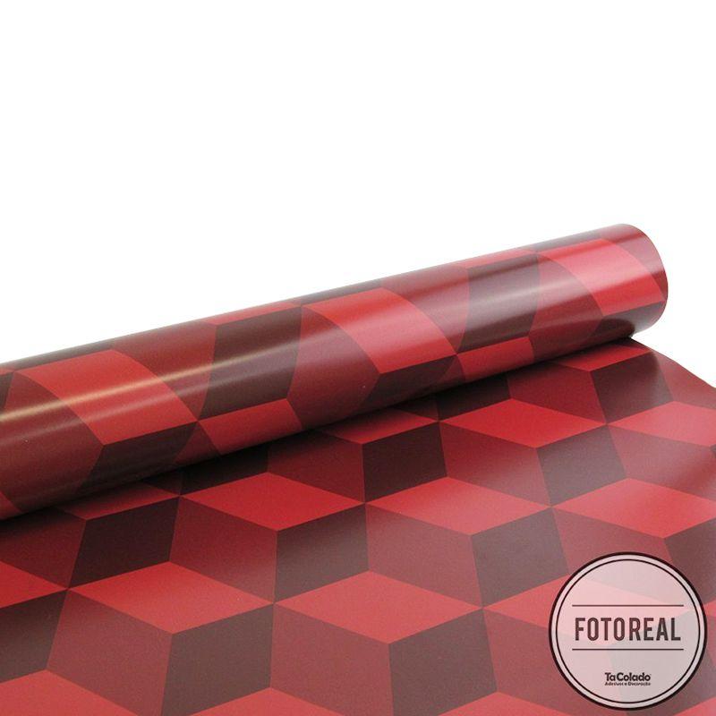 Promoção   - Papel de Parede 3D Cubo Classic Vermelho  - TaColado