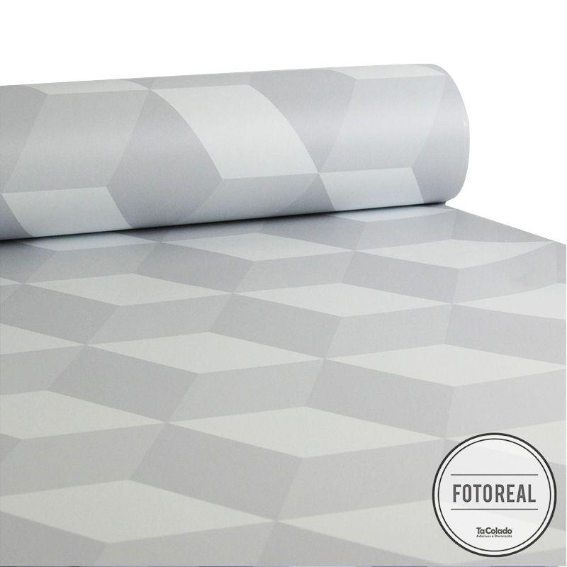 Promoção   - Papel de Parede 3D Cubo Clear Branco  - TaColado