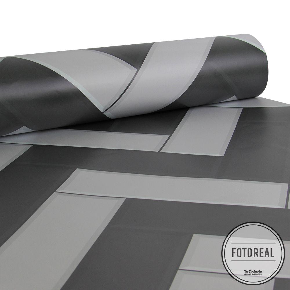 Promoção  - Papel de Parede Azulejo para Cozinha Chevron Grafite - Kit  com 2 rolos  - TaColado