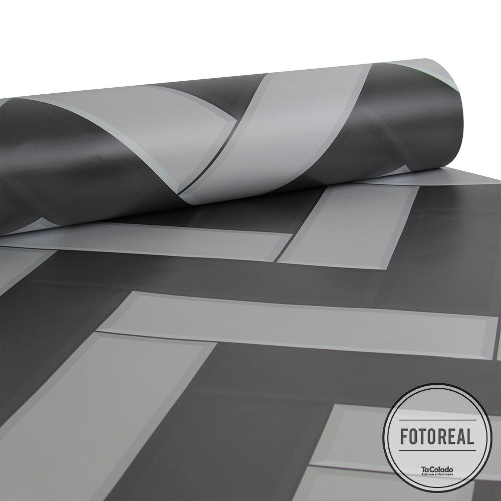 Promoção  - Papel de Parede Azulejo para Cozinha Chevron Grafite - Kit 03 rolos  - TaColado