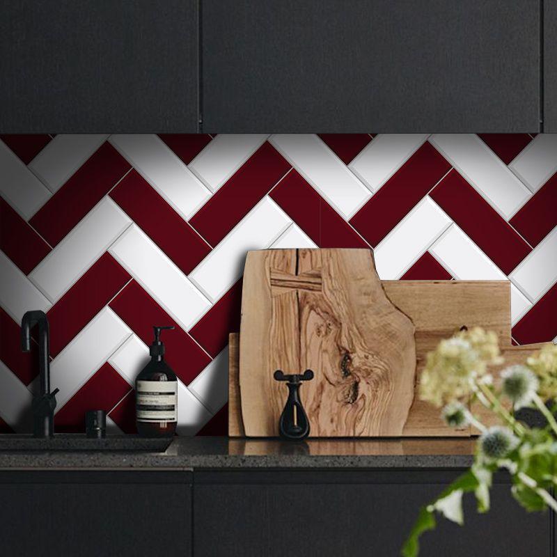 Black November - Papel de Parede Azulejo para Cozinha Chevron Vermelho  - TaColado