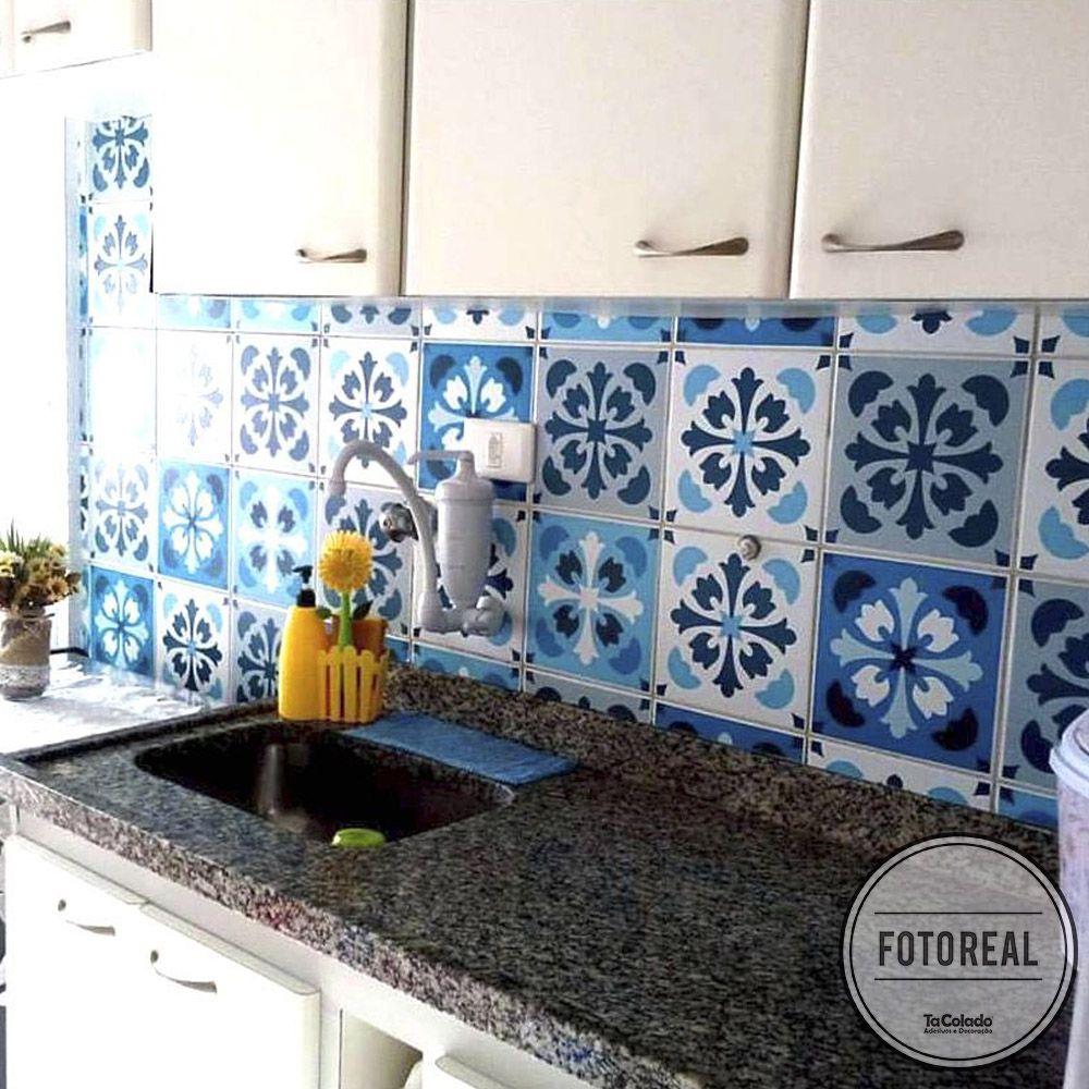 Black November - Papel de Parede Azulejo para Cozinha Manresa Azul  - TaColado