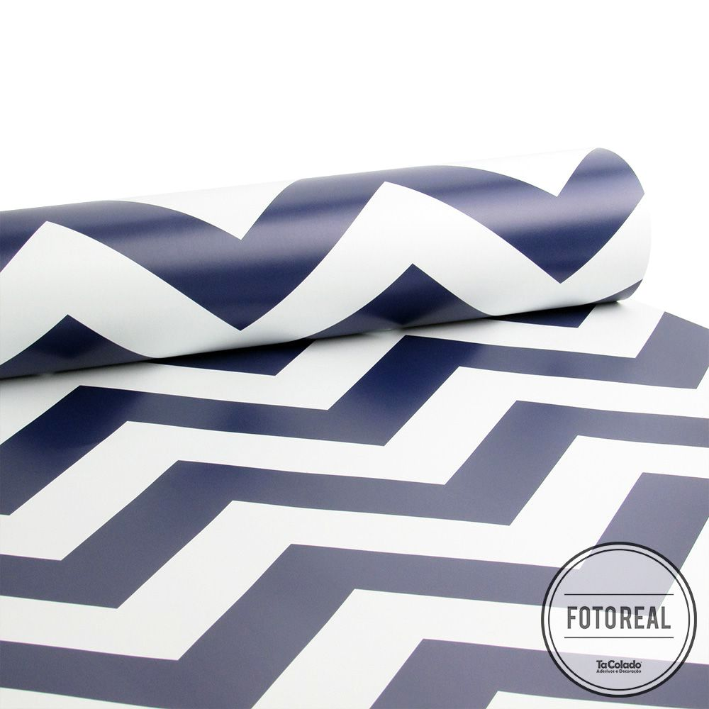 Black November  - Papel de Parede Chevron Classic Azul - Kit 02 rolos  - TaColado