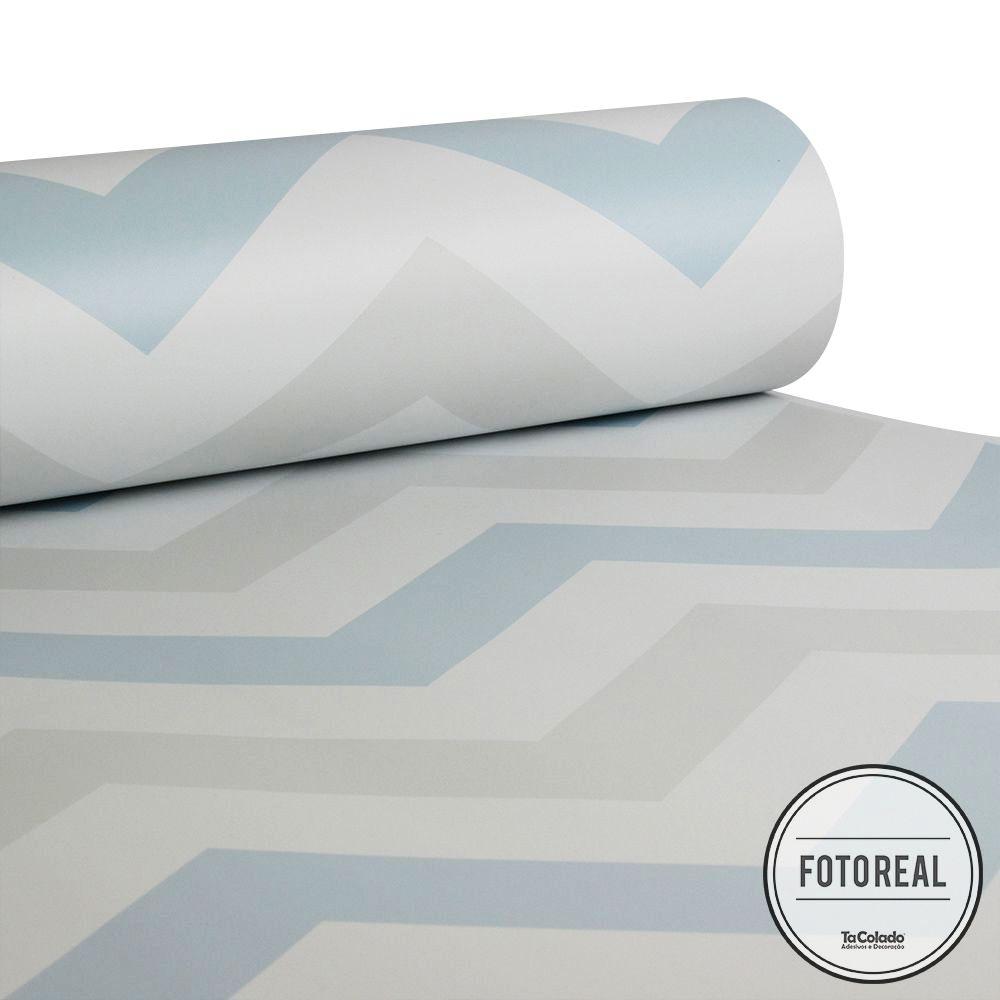 Promoção  - Papel de Parede Chevron Clear Azul e Cinza - Kit com 02 rolos  - TaColado