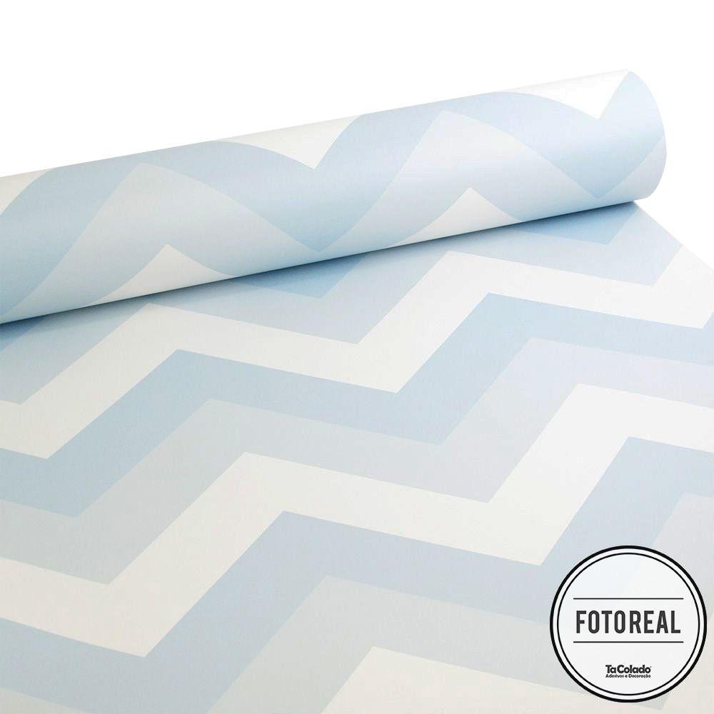Promoção  - Papel de Parede Chevron Soft Azul  - TaColado